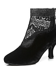 cheap -Women's Dance Shoes Lace / Synthetics Dance Boots Buckle / Lace / Sided Hollow Out Heel Cuban Heel Black / Light Red / Performance / Practice / EU40