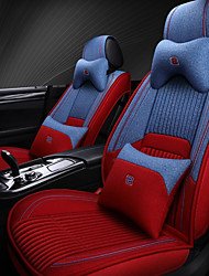 cheap -5 seats with two pillows and two waist pads red and blue four seasons universal car Seat Cover/linen material/Airbag compatibility/fiadjustable and removable