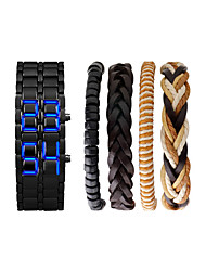 Недорогие -Муж. Наручные часы электронные часы Японский Цифровой Подарочный набор Нержавеющая сталь Черный / Серебристый металл Секундомер Светящийся Новый дизайн Цифровой Кольцеобразный Мода - / Два года