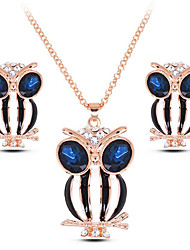 cheap -Women's Gemstone Hoop Earrings Choker Necklace Necklace Classic Owl Gold Plated Earrings Jewelry Black / Dark Blue / Blue For Party Gift