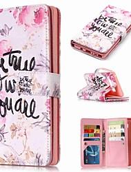 Недорогие -Кейс для Назначение SSamsung Galaxy Note 9 / Note 8 / Note 5 Кошелек / Бумажник для карт / со стендом Чехол Слова / выражения / Цветы Твердый Кожа PU