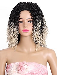 cheap -Synthetic Wig Afro Bouncy Curl Middle Part Wig Medium Length Black Black / Bleach Blonde Black / Strawberry Blonde Black / Grey Synthetic Hair 14 inch Women's Women Sexy Lady Color Gradient Black