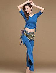 cheap -Belly Dance Outfits Women's Training / Performance Modal Ruching / Bandage Half Sleeve High Top / Pants