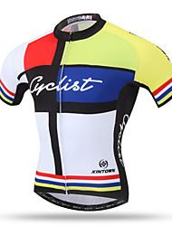 abordables -XINTOWN Homme Manches Courtes Maillot Velo Cyclisme Jaune Cyclisme Maillot Hauts / Top VTT Vélo tout terrain Vélo Route Respirable Séchage rapide Poche arrière Des sports Térylène Vêtement Tenue