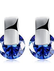 cheap -Women's Blue Sapphire AAA Cubic Zirconia Earrings Classic Ladies Fashion 18K Gold Earrings Jewelry White / Royal Blue For Party / Evening Daily 1 Pair