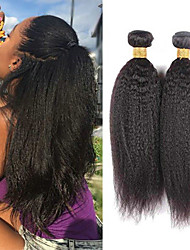 cheap -3 Bundles Indian Hair kinky Straight Human Hair Headpiece Natural Color Hair Weaves / Hair Bulk Extension 8-28 inch Black Natural Color Human Hair Weaves Silky Smooth Best Quality Human Hair / 8A