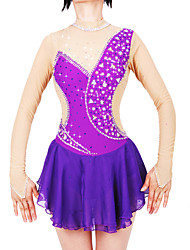 cheap -21Grams Figure Skating Dress Women's Girls' Ice Skating Dress Purple Spandex Stretch Yarn High Elasticity Professional Competition Skating Wear Handmade Fashion Long Sleeve Ice Skating Winter Sports