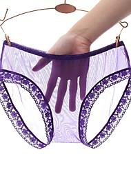 cheap -Women's Lace / Cut Out Super Sexy Shorties & Boyshorts Panties / Boxers Underwear - Plus Size, Solid Colored Low Waist Black White Purple M L XL