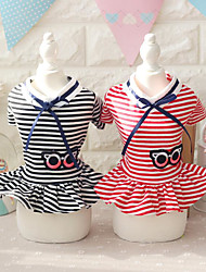 cheap -Dogs Cats Dress Dog Clothes Black Red Costume Cotton Print Stripes Dresses&Skirts Simple Style S M L