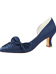 cheap -Women's Pumps Satin Summer Wedding Shoes Chunky Heel Pointed Toe Bowknot Dark Blue / Party & Evening
