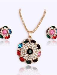 cheap -Women's Multicolor Cubic Zirconia Stud Earrings Pendant Necklace Spiga Flower Ladies Stylish Sweet Rhinestone Earrings Jewelry Rainbow For Gift Date 1 set