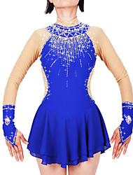 cheap -21Grams Figure Skating Dress Women's Girls' Ice Skating Dress Royal Blue Spandex Stretch Yarn High Elasticity Professional Competition Skating Wear Handmade Fashion Long Sleeve Ice Skating Winter