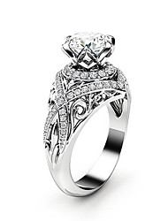 cheap -Women's Ring AAA Cubic Zirconia 1pc Silver Copper Platinum Plated Imitation Diamond Six Prongs Ladies Unique Design Elegant Party Date Jewelry Crossover Petal Blessed Lovely