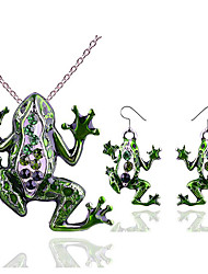 cheap -Women's Cubic Zirconia Drop Earrings Pendant Necklace Hollow Out Animal Statement Ladies Stylish Trendy Rhinestone Earrings Jewelry Green For Gift Holiday