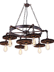 cheap -7-Light 7-Head Vintage Wood Gear Pendant Lights Creative Industrial Lamp Living Room Restaurant Bars Clothing Store Light