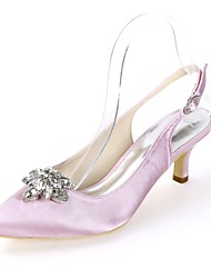 cheap -Women's Wedding Shoes Glitter Crystal Sequined Jeweled Plus Size Kitten Heel Pointed Toe Minimalism Wedding Party & Evening Buckle Solid Colored Satin White / Dark Purple / Ivory