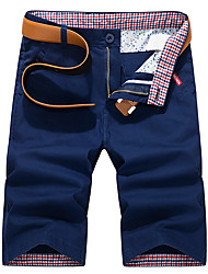cheap -Men's Street chic Daily Chinos / Shorts Pants - Solid Colored Blue Royal Blue Khaki 28 29 30