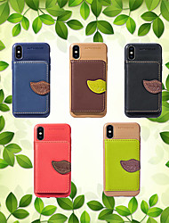cheap -Case For Apple iPhone XS / iPhone XR / iPhone XS Max Card Holder / Shockproof / with Stand Back Cover Solid Colored / Plants Hard PU Leather