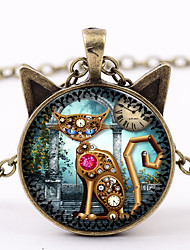 cheap -Women's Pendant Necklace Time Gem Cat Ladies Steampunk Roaring Twenties Mechanical Glass Alloy Black Silver Brown 50+5 cm Necklace Jewelry 1pc For Carnival Street