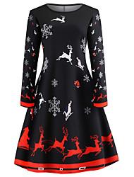 cheap -Women's Christmas Party Daily Elegant Sheath Dress - Geometric Solid Colored High Waist Black Navy Blue Rainbow S M L XL / Sexy