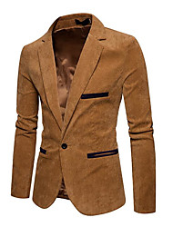 cheap -Men's Daily Active Regular Blazer, Solid Colored Shawl Lapel Long Sleeve Acrylic / Polyester Pleated Navy Blue / Wine / Khaki