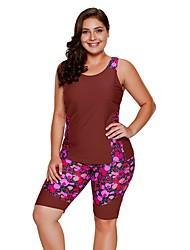 abordables -Femme Basique Sans Bretelles Rouge Bandeau Slips Tankinis Maillots de Bain - Fleur / Géométrique Imprimé XL XXL XXXL / Sexy