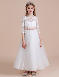 cheap -A-Line Long Length Flower Girl Dress - Lace / Satin / Tulle Half Sleeve / 3/4 Length Sleeve Jewel Neck with Lace / First Communion