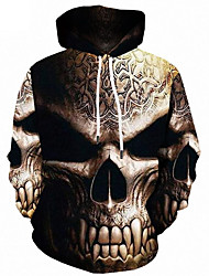 cheap -Men's Plus Size Sports Active / Street chic Long Sleeve Loose Hoodie - 3D / Skull Print Hooded Brown 4XL / Fall / Winter