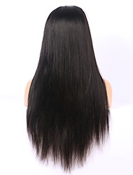 cheap -Remy Human Hair Full Lace Lace Front Wig Asymmetrical style Brazilian Hair Straight Natural Straight Natural Black Wig 130% 150% 180% Density with Baby Hair Soft Women Easy dressing Best Quality
