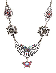 cheap -Women's Vintage Necklace Vintage Style Butterfly Ladies Vintage Steampunk Kinetic Silver Plated Alloy Silver 18 cm Necklace Jewelry 1pc For Party / Evening Daily
