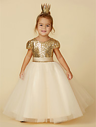 cheap -Princess Floor Length Wedding / Party / Pageant Flower Girl Dresses - Tulle / Sequined Short Sleeve Jewel Neck with Sash / Ribbon / Sequin