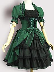 cheap -Sweet Lolita Victorian Dress Girls' Female Japanese Cosplay Costumes Green Vintage Puff / Balloon Sleeve Short Sleeve Knee Length