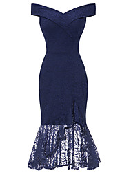 cheap -2019 New Arrival Dresses Women's Vintage Elegant Bodycon Sheath Trumpet / Mermaid Dress Elbise Vestidos Robe Femme - Solid Colored Lace Split Pink Navy Blue Wine L XL XXL