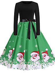 cheap -Women's Swing Dress Knee Length Dress Blue Purple Red Green Long Sleeve Print Lace up Print Fall Round Neck Casual Christmas 2021 S M L XL XXL
