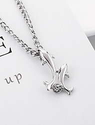cheap -Women's Cubic Zirconia Charm Necklace Sculpture Dolphin Ladies Simple Fashion Cute Rhinestone Alloy Silver 46.5+5 cm Necklace Jewelry 1pc For Going out Work