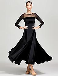cheap -Ballroom Dance Dresses Women's Training / Performance Tulle / Pleuche / Milk Fiber Split Joint Long Sleeve High Dress