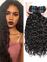 cheap -4 Bundles Hair Weaves Brazilian Hair Water Wave Human Hair Extensions Remy Human Hair 100% Remy Hair Weave Bundles 400 g Natural Color Hair Weaves / Hair Bulk Human Hair Extensions 8-28 inch Natural