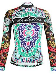 abordables -ILPALADINO Femme Manches Longues Maillot Velo Cyclisme Vert Floral Botanique Cyclisme Hauts / Top VTT Vélo tout terrain Vélo Route Respirable Séchage rapide Résistant aux ultraviolets Des sports Hiver