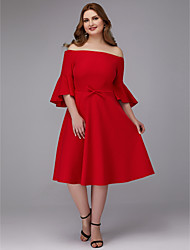 cheap -A-Line Plus Size Red Wedding Guest Cocktail Party Dress Off Shoulder Half Sleeve Knee Length Stretch Satin with Bow(s) 2020