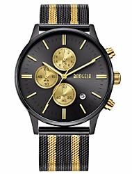 cheap -Men's Sport Watch Japanese Japanese Quartz Stainless Steel Gold / Rose Gold 30 m Water Resistant / Waterproof Calendar / date / day Chronograph Analog - Digital Classic Casual Fashion - Black / Gold