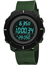 Недорогие -Муж. Спортивные часы электронные часы Японский Цифровой силиконовый Черный / Зеленый 30 m Защита от влаги Календарь Хронометр Цифровой Мода - Черный Зеленый / Фосфоресцирующий