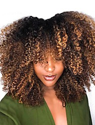 cheap -Dolago Short Bob Human Hair Wigs 250% Density with Baby Hair Ombre Blonde Kinky Curly 4x4 Closure Lace Front Wig