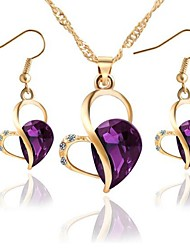 cheap -Women's Synthetic Amethyst Drop Earrings Necklace Hollow Out Heart Hollow Heart Ladies Stylish Classic Rhinestone Earrings Jewelry Purple / Green / Blue For Party Daily 1 set