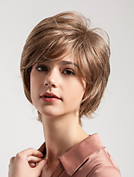 cheap -Human Hair Capless Wigs Human Hair Curly Pixie Cut / Short Hairstyles 2019 New Arrival / Natural Hairline Light Brown Short Capless Wig Women's