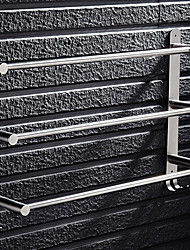 cheap -Towel Rack Stainless Steel Silver Towel Bar 3 Tier Bathroom Towel Rack Towel Holder Rustproof Towel Hanger Rack with 2 Hooks Wall Mount 40/50/60CM