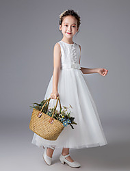 cheap -Princess Floor Length Flower Girl Dress - Polyester Sleeveless Jewel Neck with Lace / Sash / Ribbon / Solid / First Communion