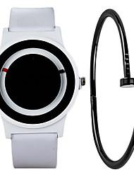 cheap -Men's Sport Watch Quartz Gift Set Leather Black / White Chronograph Creative Cool Analog Minimalist Fashion - White Black One Year Battery Life