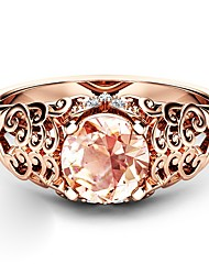 cheap -Women's Ring Cubic Zirconia 1pc Rose Gold Copper Rose Gold Plated Imitation Diamond Ladies Artistic Trendy Party Date Jewelry Hollow Out Clouds Lovely