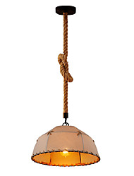 cheap -1-Light 35 cm Eye Protection / Rope / Creative Pendant Light Metal Fabric Industrial Retro 110-120V / 220-240V