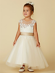 cheap -Ball Gown Ankle Length / Knee Length Wedding / Party / Pageant Flower Girl Dresses - Lace / Tulle Sleeveless Jewel Neck with Belt / Buttons / Beading